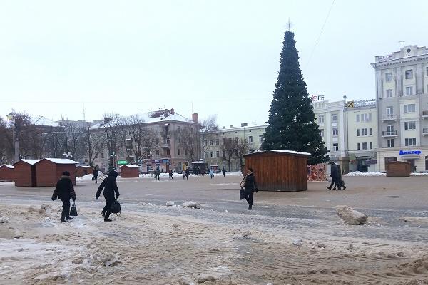 Головна ялинка Тернополя уже з хвоєю, встановлюють новорічне торгове містечко (Фото)