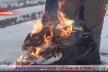 Під стінами Тернопільської ОДА люди палили газети в мішках на шинах (Відео)