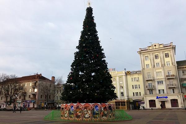 У центрі Тернополі прикрасили головну ялинку міста і встановлюють шопку