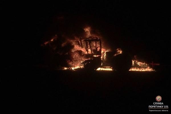 Біля Зборова згорів трактор