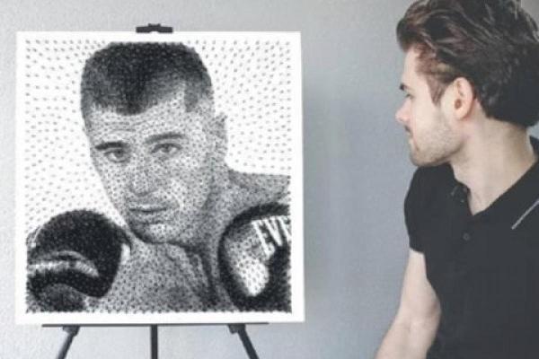 Житель Тернопільщини зробив незвичний портрет боксерa