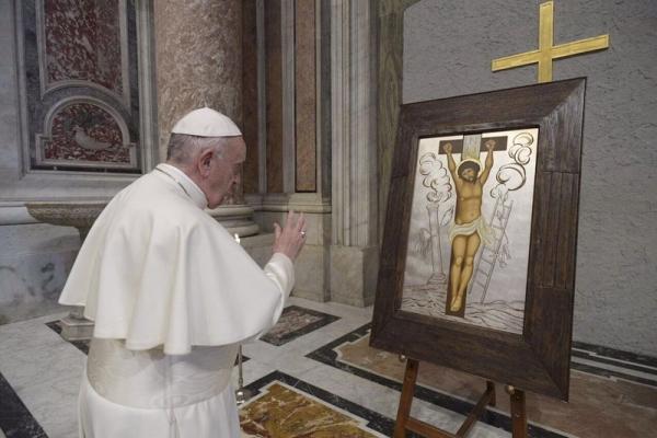 Папа Франциск благословив копію чудотворної ікони Розп'яття Спасителя із Зарваниці