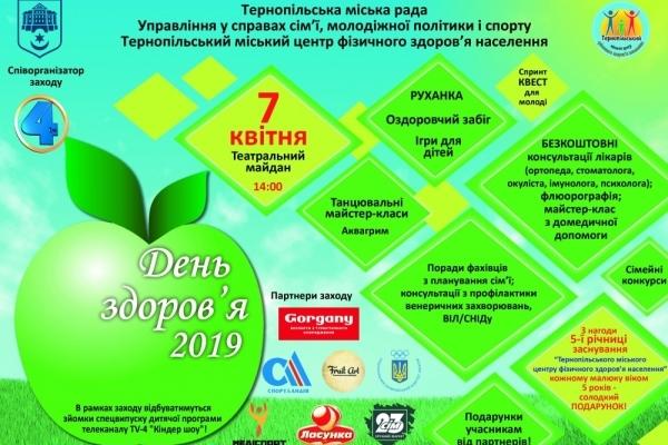 Тернополяни відзначатимуть Всесвітній день здоров'я