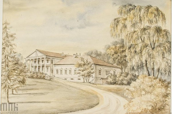 Палац в Загайцях на зображенні ХІХ ст