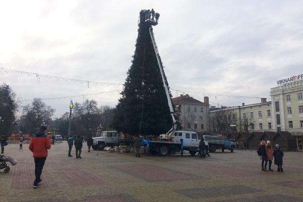 Новорічну ялинку Тернополя «одягнули» в ілюмінацію (Фото)