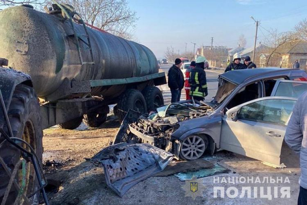 У Збаразькому районі зіткнулися легківка і трактор з цистерною