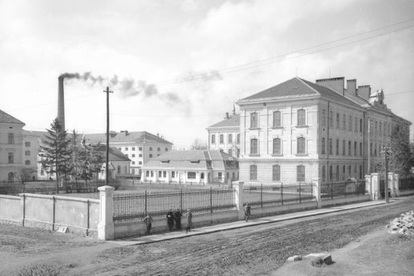 Монастириська тютюнова фабрика на фото 1938 року
