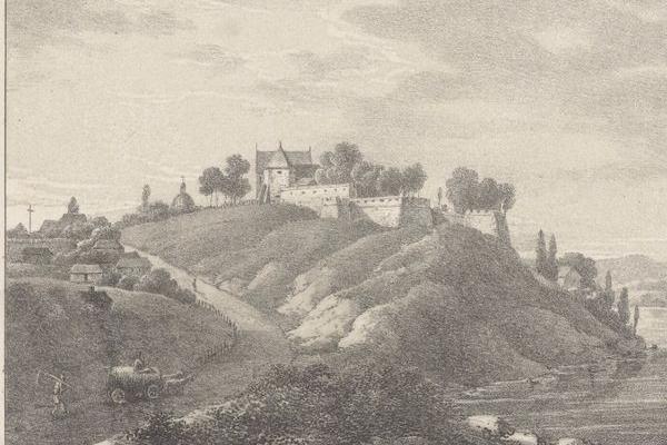 Замок в селі Старий Олексинець на зображенні ХІХ століття