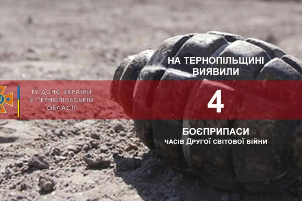 Боєприпаси часів Другої світової війни: на Тернопільщині виявили 4 артснаряди