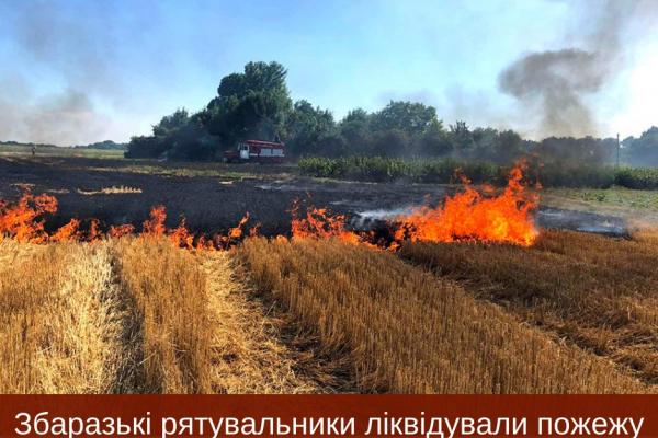 На Тернопільщині загорілися післяжнивні залишки